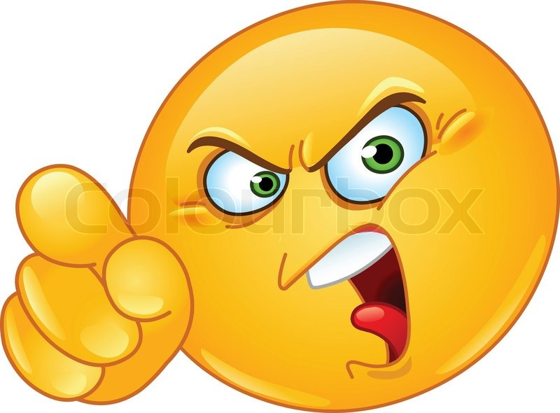 Angry emoticon pointing an accusing.