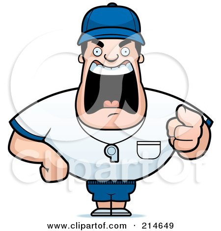 Clipart Of A Happy Brunette White Male Sports Coach or Gym Teacher.