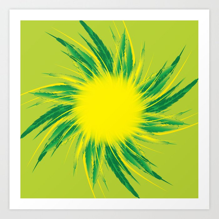 Green Sun Art Print.