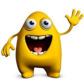Clip Art of cute yellow alien k11157072.
