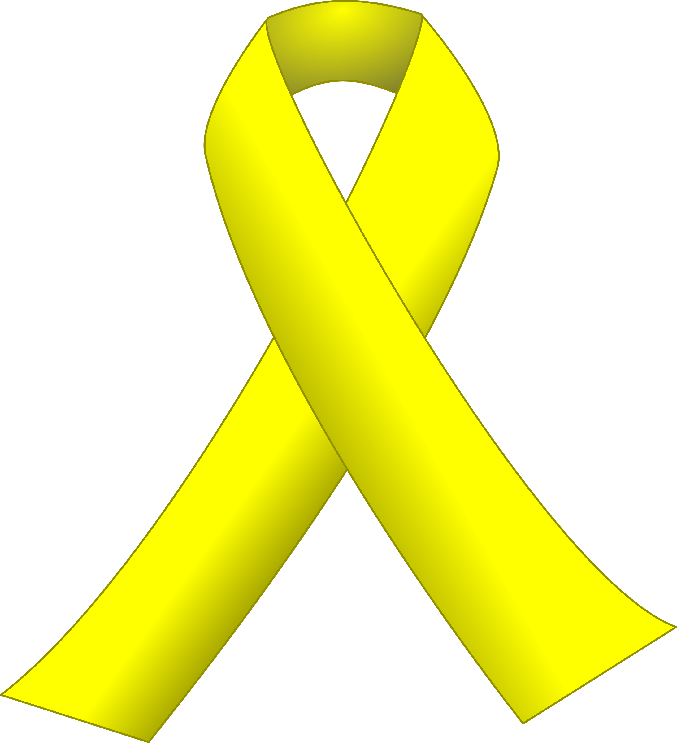 Yellow Cancer Ribbon Black Background.