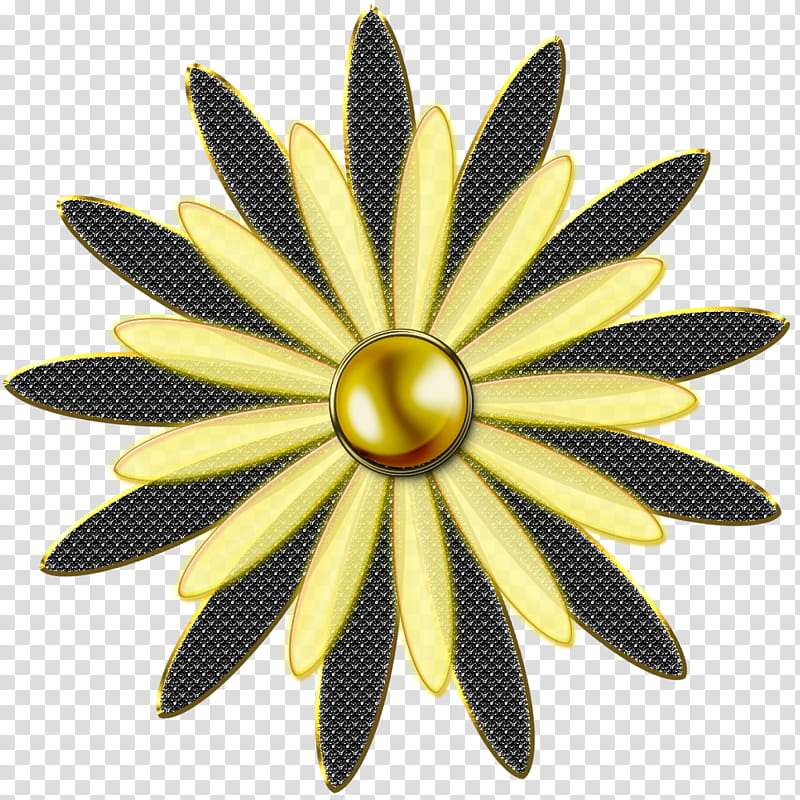 Decorative flowerses in, yellow and black petaled flower art.