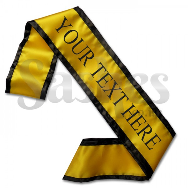 Personalised Yellow and Black Contrast Trim Sash.
