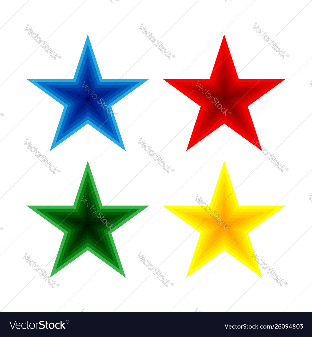 Set blue red green and yellow stars.