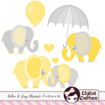 Yellow and Gray Elephant Clipart Set.