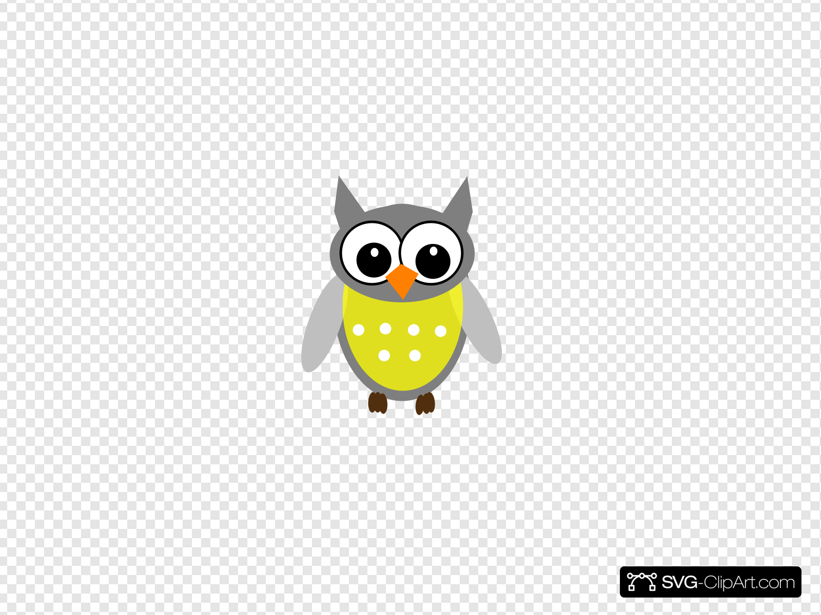 Yellow Gray Owl Clip art, Icon and SVG.