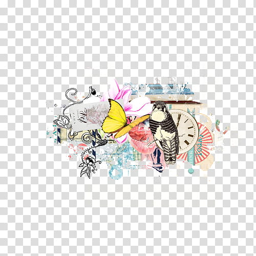 Mixed Set , yellow butterfly and gray owl illustration.