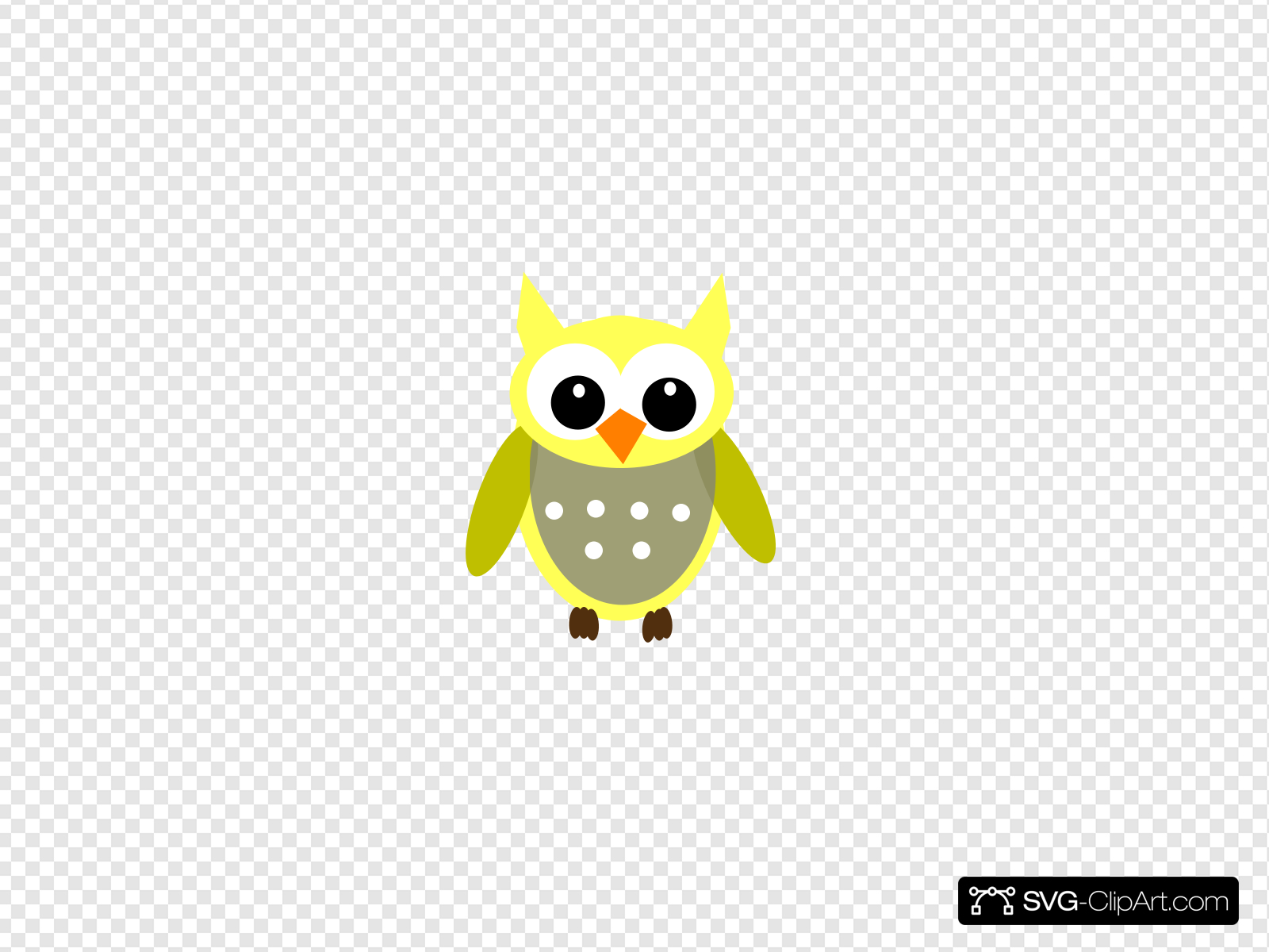 Cute Yellow Gray Owl Clip art, Icon and SVG.