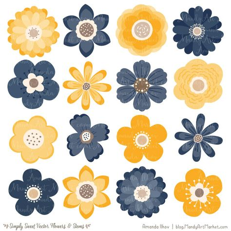 Cute Flowers Clipart in Navy & Lemon.