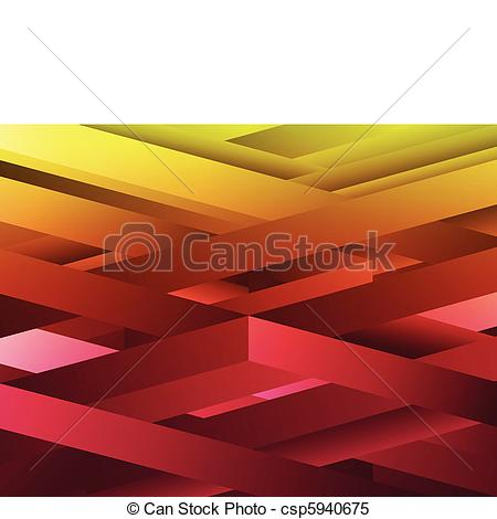 Clipart Vector of Red and Yellow abstract geometric lines.