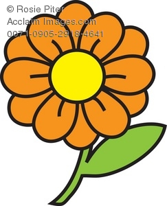 Clipart Illustration of a Flower With Orange Petals.