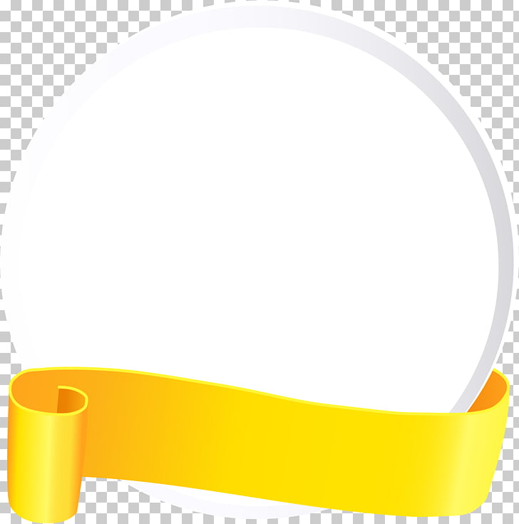 Hand painted yellow ribbon circle, white plate PNG clipart.
