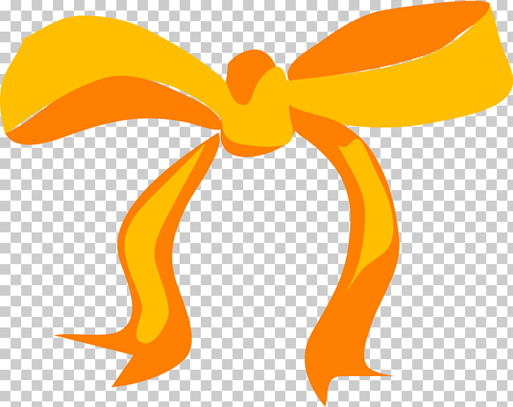 Yellow ribbon Bow and arrow , orange PNG clipart.