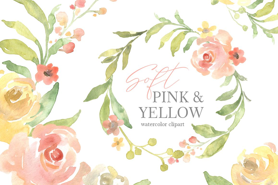 Pink & Yellow Watercolor Flowers, Wedding Bouquets PNG.