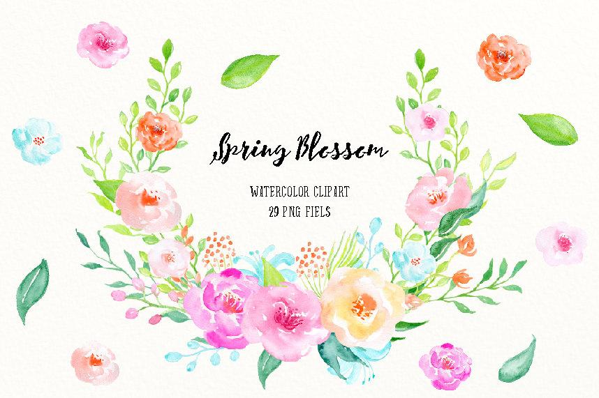 Watercolor Clipart Spring Blossom, spring flowers and decorative elements  for instant download.