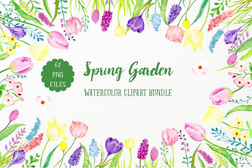 Watercolor Spring Garden Bundle, pink tulip, yellow daffodils and spring  flower collection.