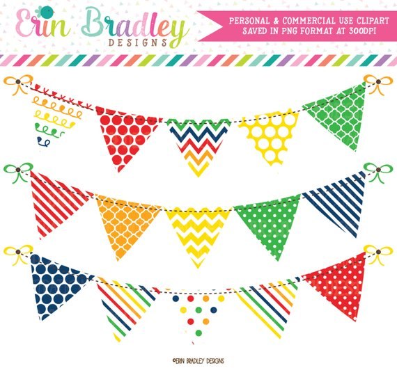 80% OFF SALE Clipart Bunting Banner Flag Graphics Set in.