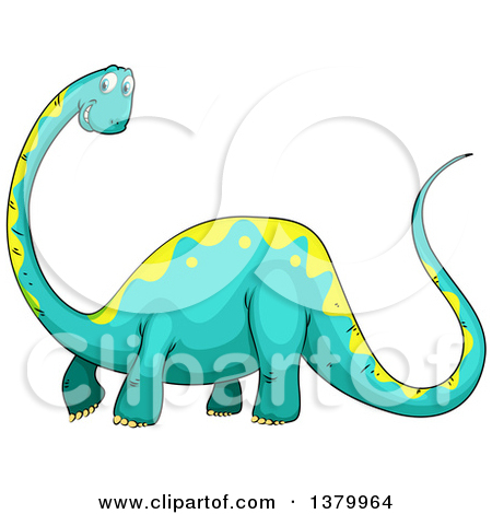 Clipart of a Happy Turquoise and Yellow Brontosaurus Dinosaur.