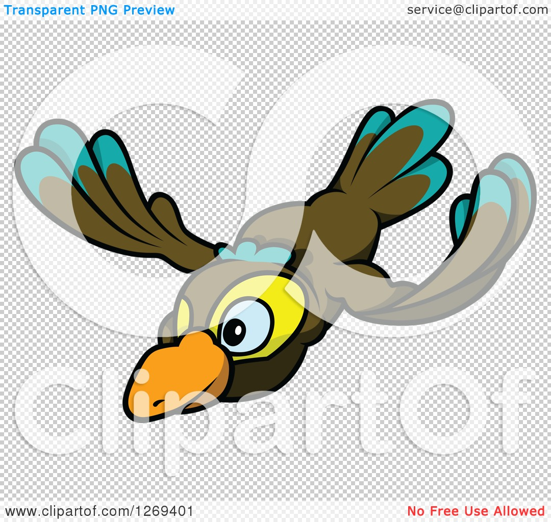 Clipart of a Cartoon Flying Brown Turquoise and Yellow Bird.