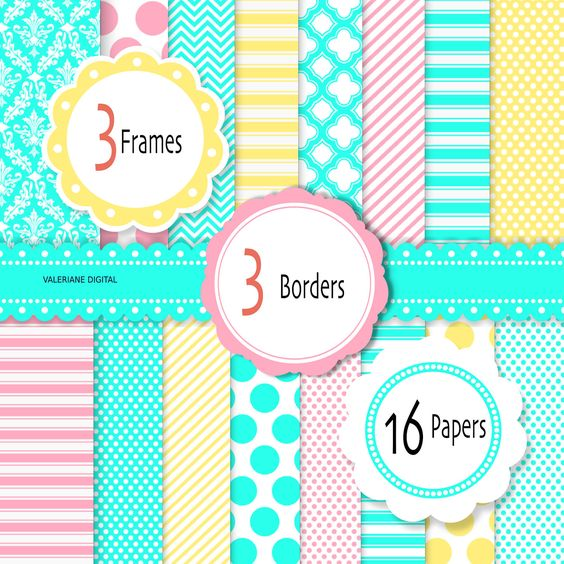 Turquoise pink and yellow Digital scrapbook printable paper and.