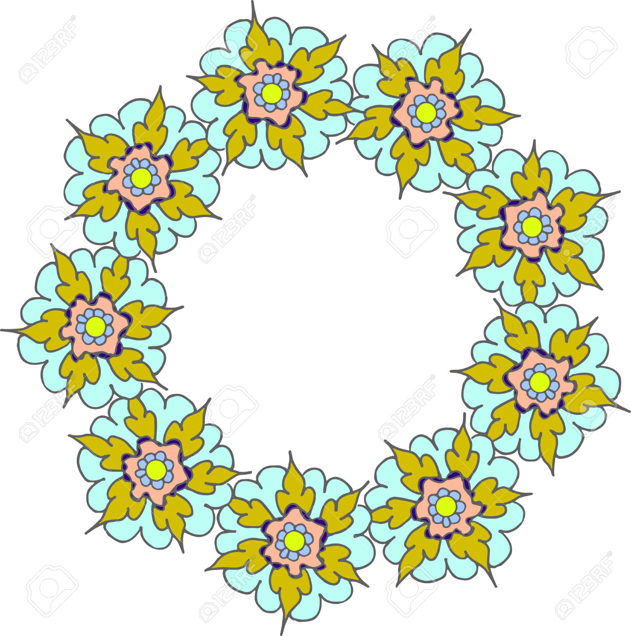 Colorful Yellow Turquoise Floral Frame,clip Art Floral Wreath.