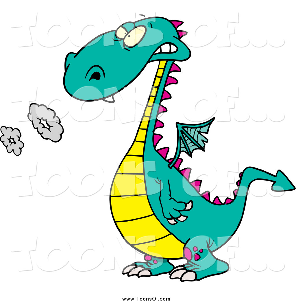 Clipart of a Cartoon Smoking Yellow and Turquoise Dragon by Ron.