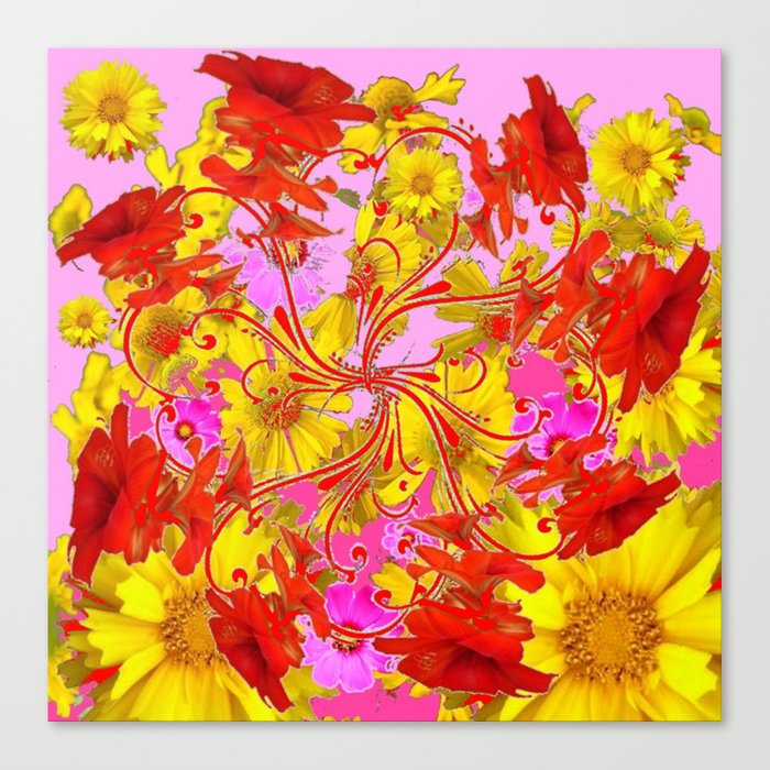 AWESOME RED AMARYLLIS & YELLOW COREOPSIS RED ABSTRACT GARDEN Canvas Print  by sharlesart.