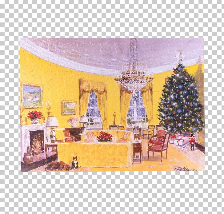 White House Christmas Tree Yellow Oval Room Clinton.