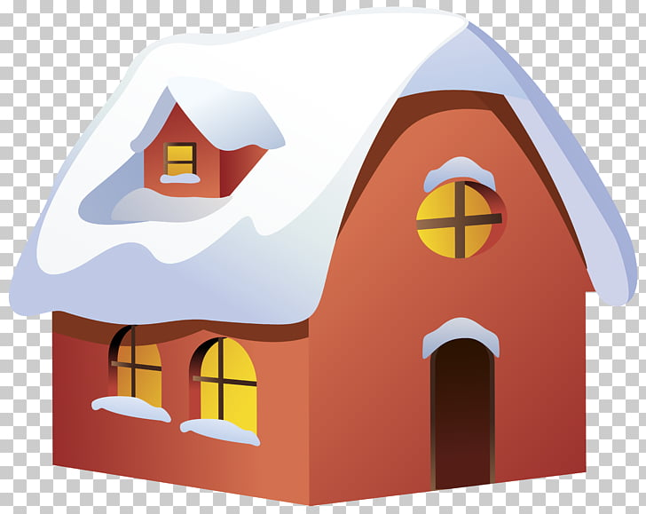 Winter House , Winter House Transparent , red, yellow, and.