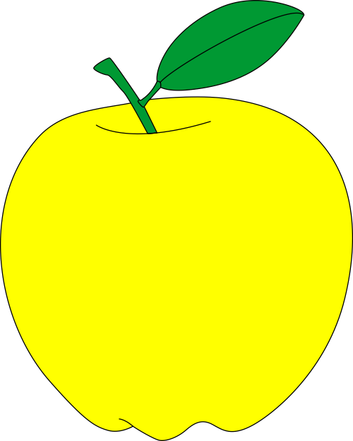 Yellow apple free vector clipart.