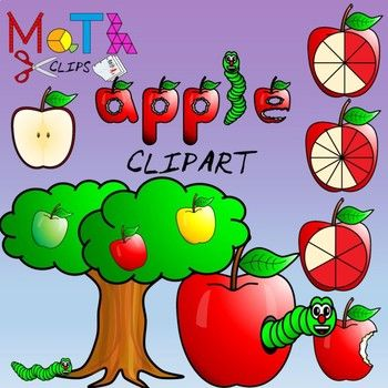 Apple Fractions Clipart.