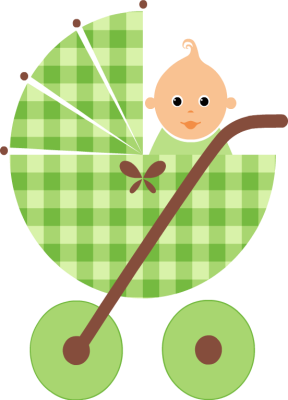 Yellow and green baby carriage clipart.