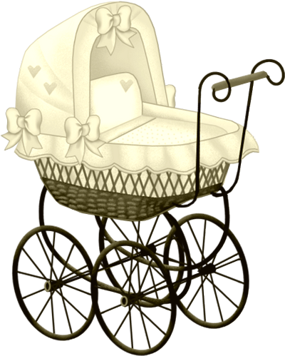 YELLOW BABY CARRIAGE CLIP ART.