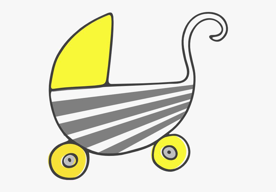 Yellow Baby Carriage Clipart.