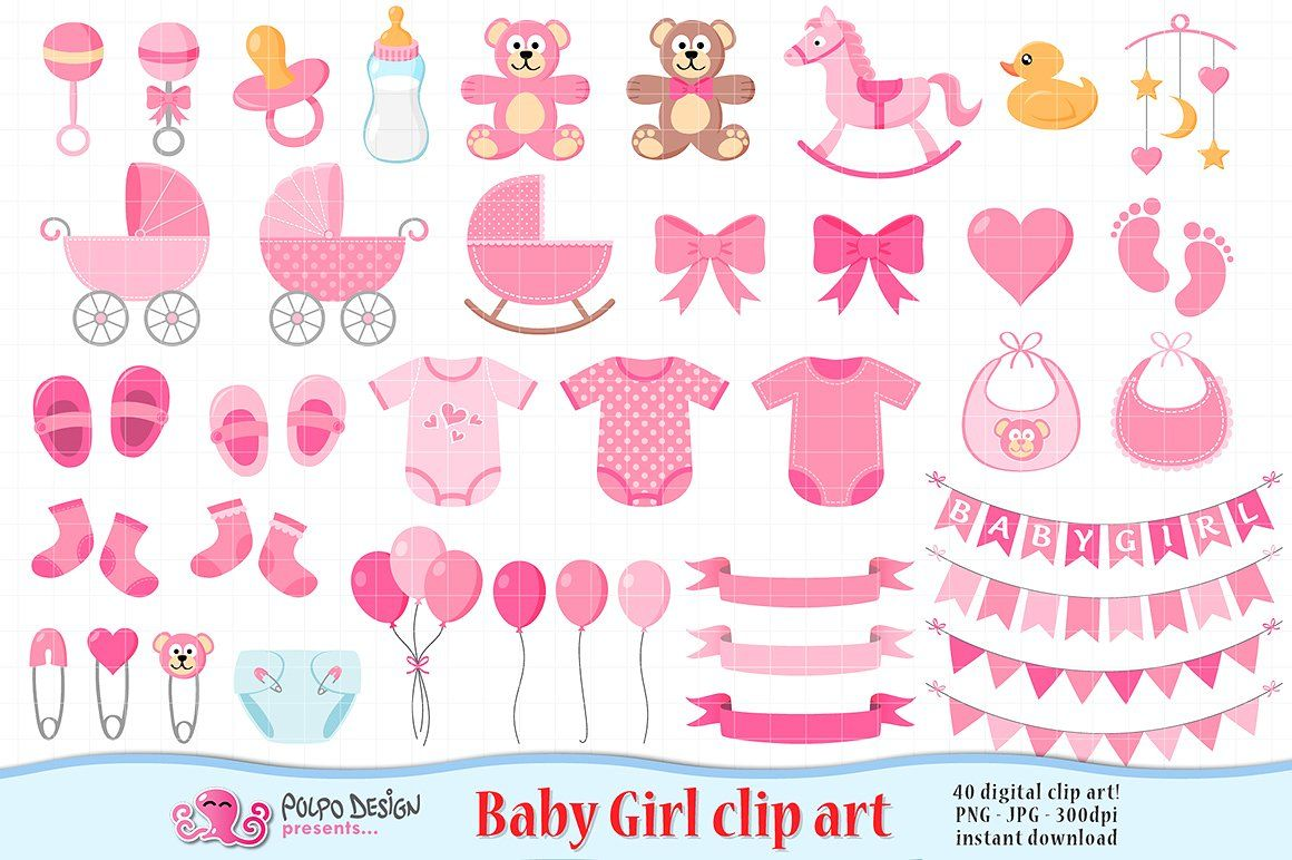 Baby Girl clipart #clothes#bib#shoes#balloons.