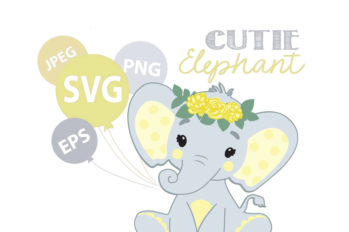 Elephant Girl SVG vector clip art.
