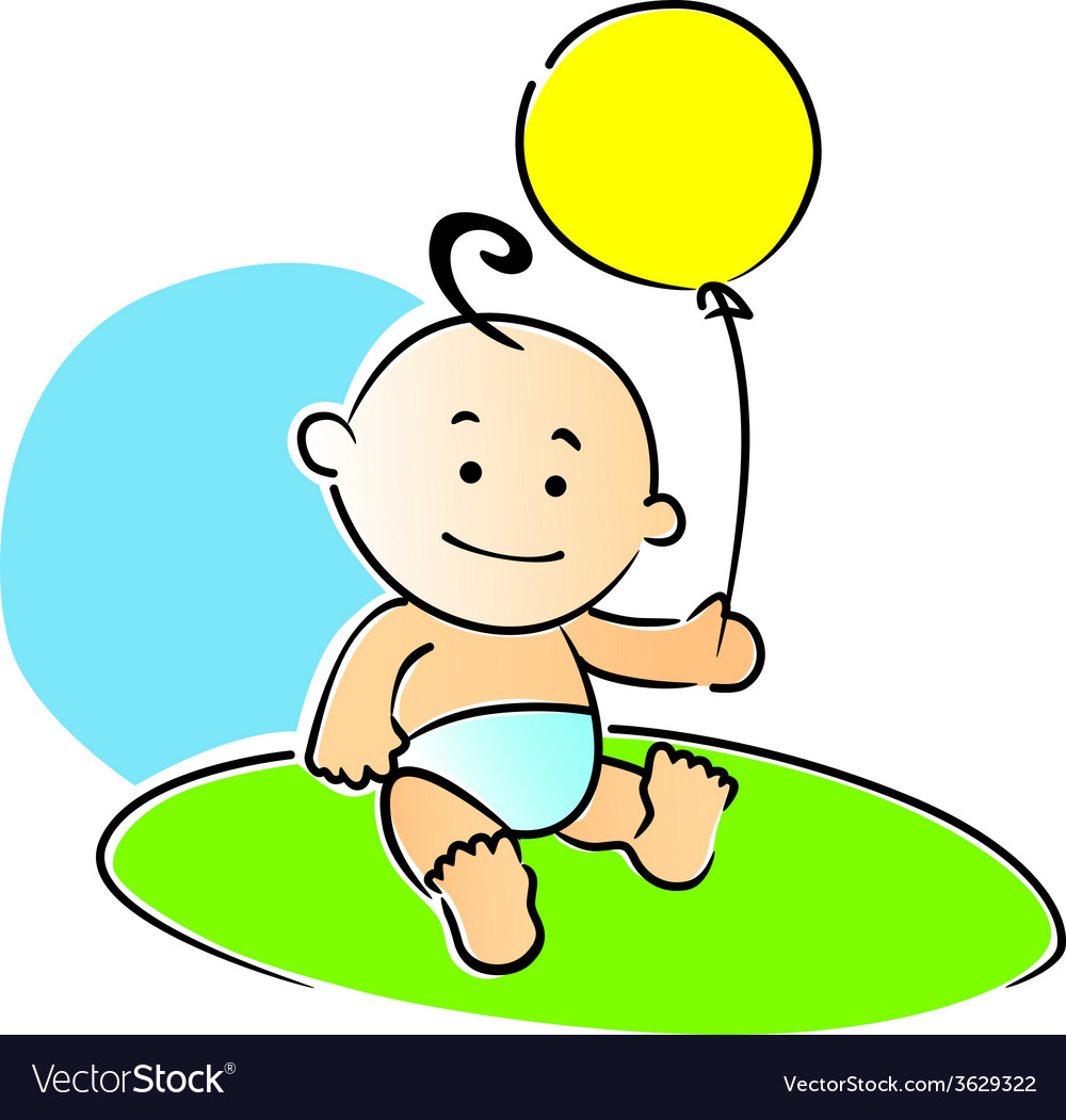 Small baby playing with a yellow balloon.