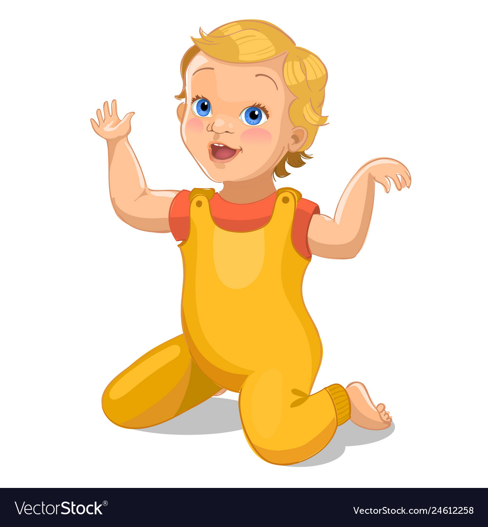 Realistic little baby in yellow suit cartoon baby.