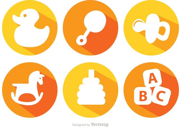 Long Shadow Baby Toys Vector Icons.