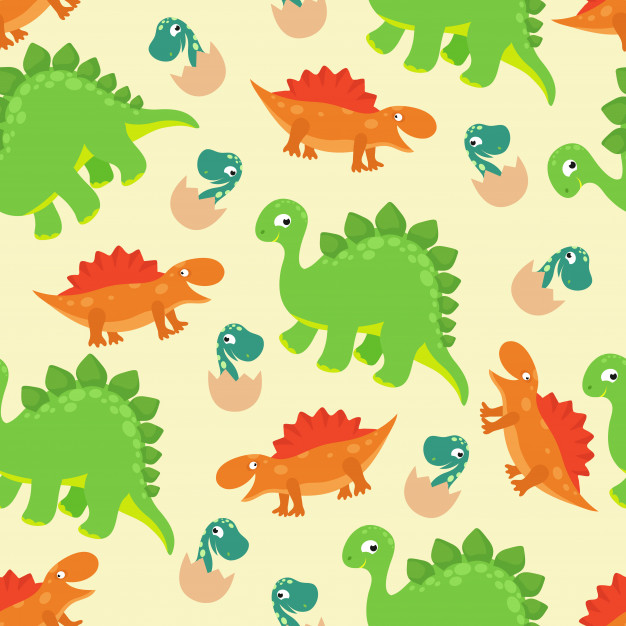 Cartoon baby dinosaur vector seamless pattern for girl.