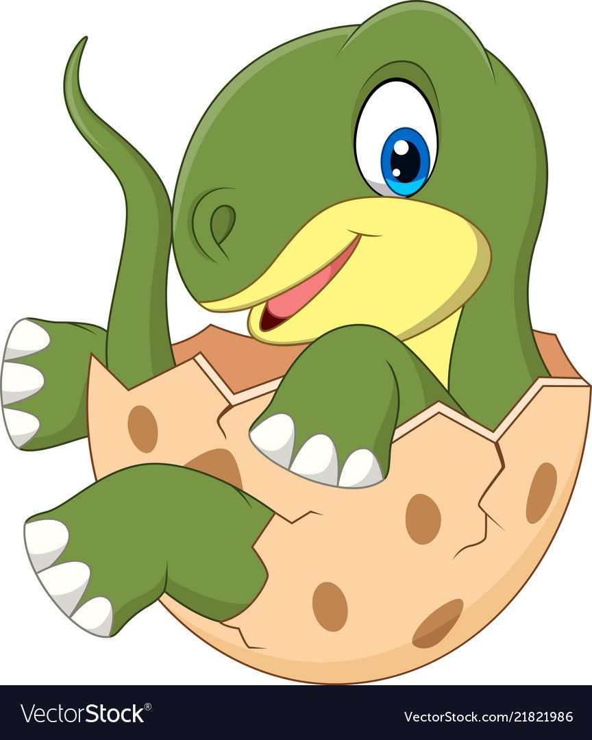 Cartoon baby dinosaur hatching Royalty Free Vector Image.