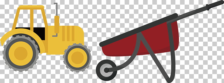 Tractor Yellow Agriculture Euclidean , Yellow tractor PNG.