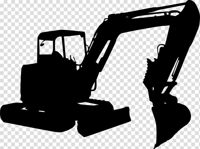 Silhouette Excavator Black and white, excavator transparent.