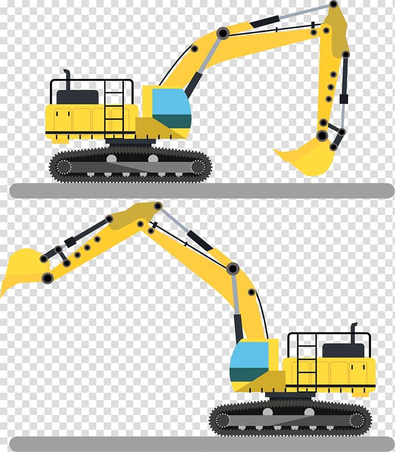 Yellow and black excavator illustration, Crane Excavator.