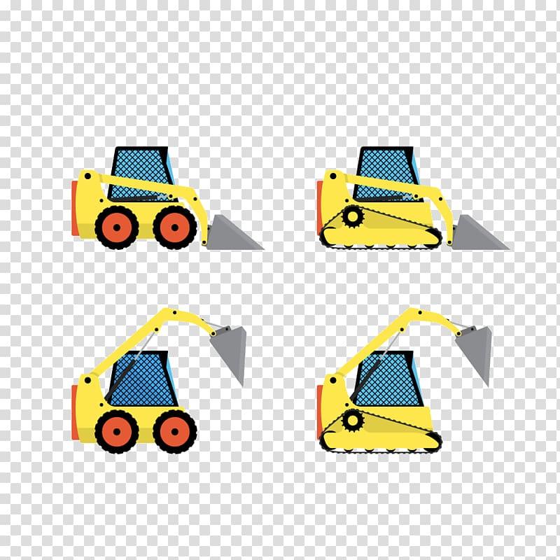 Heavy equipment Bulldozer Machine Loader, Small yellow.