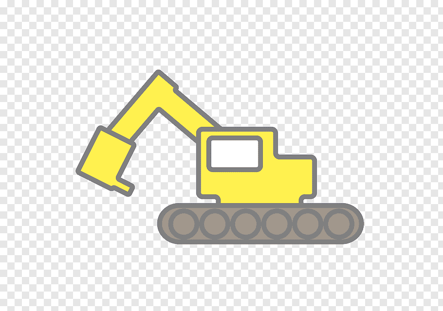 Car Logo, Excavator, Heavy Machinery, Shovel, Text, Yellow.