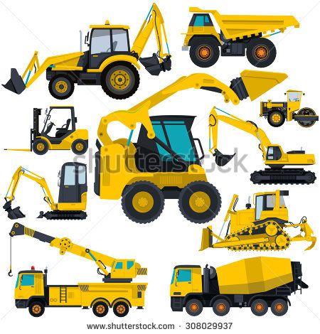 Nice yellow big set of ground works machines vehicles.