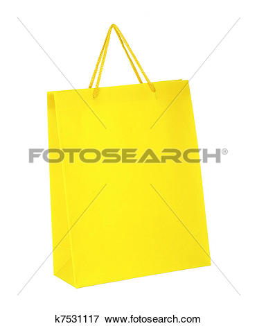 Picture of Yellow shopping paper bag isolated on white background.
