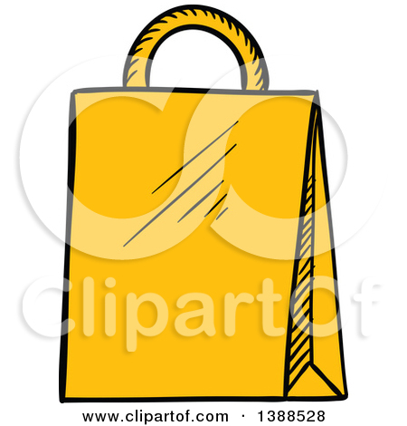 Clipart of a Sketched Yellow Shopping Bag.