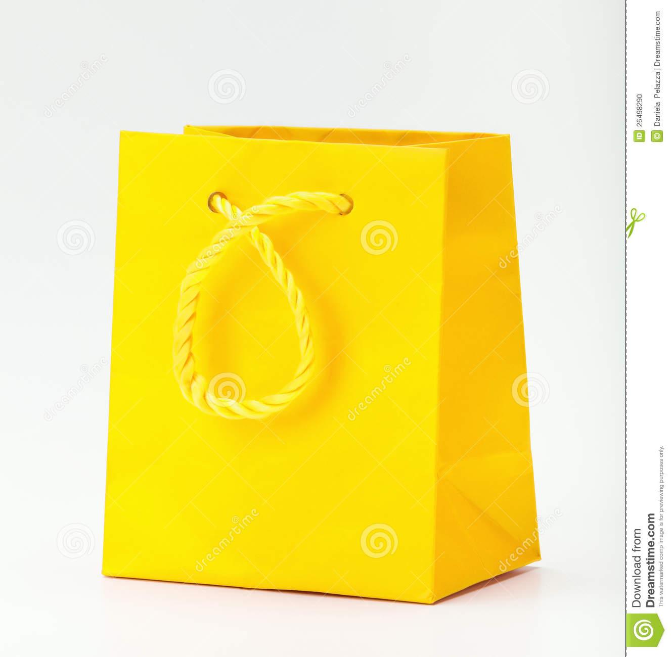 Yellow Shopping Bag. Stock Photo.